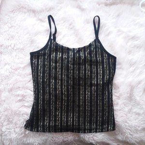 EUC New York & Company Striped Lace Crop Top